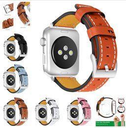 wrist watch leather strap replacement 2019 - 42mm 38mm Genuine Leather Watch Bands Wrist Straps Smart Watchband with Metal Clasp Buckle for Apple iWatch Series 1 2 3