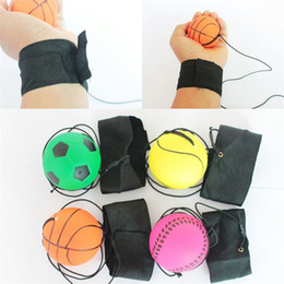 Ball for game online shopping - Throwing Bouncy Rubber Balls Kids Funny Elastic Reaction Training Wrist Band Ball For Outdoor Games Toy Novelty xq UU