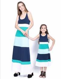 spring fashion looks Canada - Mother Daughter Dresses Sleeveless Blue Dress Summer Mother Daughter Clothes Mom Daughter Outfits Patchwork Family Look Dresses