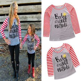 mother daughter matching top Canada - Family matching clothing Mother and daughter T-shirts letter print Tops 2018 new Mother's Day Stripe long sleeve Tees C3495