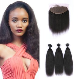 Discount kinky weave bundles closure - Indian Hair With Frontal Closure 13*6 Swiss Lace Unprocessed Kinky Straight Human Hair Bundles With Lace Frontal