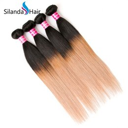 Brazilian Human Hair Wholesale Prices Australia - Silanda Hair Luxury Wholesale Price Straight Brazilian Remy Human Hair Bundle #T 1B 27 Ombre Color Hair Weft 3pcs per pack Free Shipping