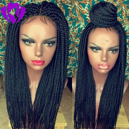 $enCountryForm.capitalKeyWord Australia - New Synthetic lace front wig black micro braided wig with baby hair for black women heat resistant fiber box braid wig glueless