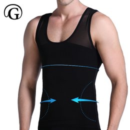 11f90430e8 PRAYGER Men Boobs Compression Breathable mesh moob Vest Shaper Tummy  trimmer Slimming shirt Top Corset Gynecomastia Chest Shaper