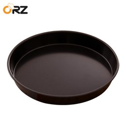 Wholesale Pizza Pans NZ - ORZ 8 Inch Baking Pizza Pan Stones Non-stick Round Metal Bakeware Microwave Oven Cake Mould Plate Baking Dish Tray Kitchen Tools