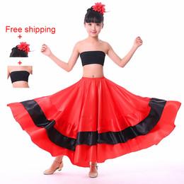 fb4bb513fcd9 Flamenco Costumes Australia - Girls Spanish Dance Costumes Children Spanish Flamenco  Skirt Ballroom Dance Skirt Belly