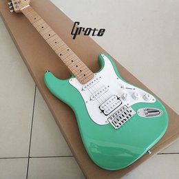China High - quality mahogany body electric guitar, Canadian maple neck, light blue body, white guard, only double pickups cheap quality double neck guitar suppliers