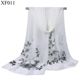 Discount elegant scarves - New Fashion Women Leaves Flowers Chiffon Scarves Shawls Elegant White Fairy Long Thin Simple Spring Autumn160cm*50cm