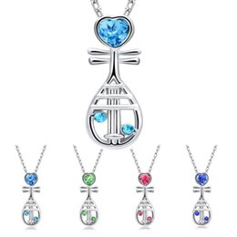 $enCountryForm.capitalKeyWord Canada - 2018 Chinese Musical Instrument Crystal Heart Pipa Necklace Silver Chain Crystal Diamond Pendant Fashion Jewelry Gift for Women Kids