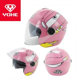 Yohe Half Helmets Australia - 2018 New YOHE Children Half Face Motorcycle helmet ABS Child Motorbike Helmets Kids safety cap hat with PC Lens visor FREE SIZE