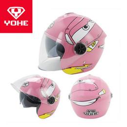 Yohe Helmet Half Face Australia - 2018 New YOHE Children Half Face Motorcycle helmet ABS Child Motorbike Helmets Kids safety cap hat with PC Lens visor FREE SIZE