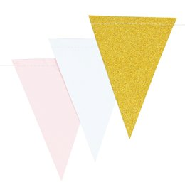 gold candy boxes UK - 10ft Gold Pink and White Banner Bunting Pennant Garland for Baby Shower Bridal Shower First Birthday Party Decor Photo Backdrop