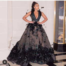 a9d8ca88e1 Amazing Black Feather Prom Dresses Sexy Deep V Neck Evening Gowns With  Appliques Saudi Arabia Women Formal Wear Floor Length Party Dress