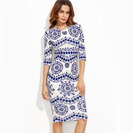 0eef4c318 Estilo chino azul y blanco de impresión de porcelana delgado vestido de  lápiz oficina señoras ropa de trabajo cuello redondo 3 4 manga vestido midi