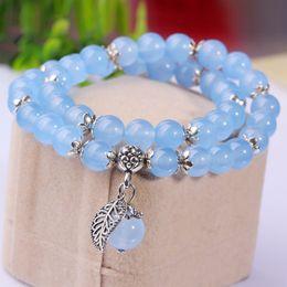$enCountryForm.capitalKeyWord NZ - Natural Blue Rose Chalcedony Crystal Bracelets Lucky Tibetan Silver Leaf Lovers Crystal Bracelet Korean Ornaments Circle Gift