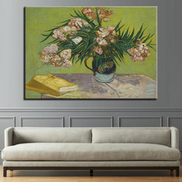 flower vase paintings canvas 2019 - Canvas Print Paintings Living Room Home Decor 1 Piece Oleanders Flower Vase Posters Impressionism Pictures Wall Art Fram