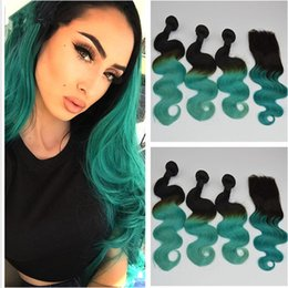 $enCountryForm.capitalKeyWord NZ - 9A Ombre Peruvian Hair Body Wave With Closure Two Tone 1B Green Dark Roots Ombre Human Hair 3 Bundles With Lace Closure
