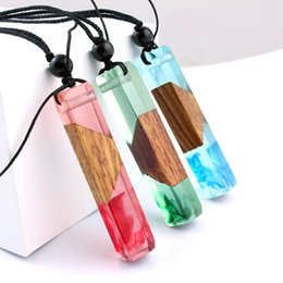 Wooden Pendants Men NZ - Wood Resin Pendant Necklace Novelty Personalized Wooden Statement Sweater Necklace Creative Wedding Birthday Gift For Men Women