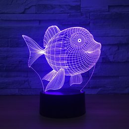 Batteries Usb Mouse Australia - Goldenfish 3D Optical Illusion Lamp Night Light DC 5V USB Powered AA Battery Wholesale Dropshipping Free Shippin