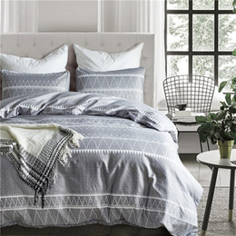 light gray duvet NZ - Simple Striped Gray Pattern Polyester Fiber Pillowcase And Duvet Cover Sets 2 3pcs Bedlinen USA Twin Queen King Size Bedding Set