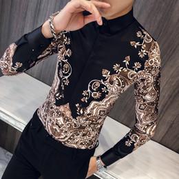 Breast prom dresses online shopping - Luxury Royal Shirt Men Casual Slim Fit Long Sleeve Men Paisley Print Shirt Camisa Social Masculina Manga Longa Prom Party