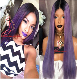 $enCountryForm.capitalKeyWord Australia - Dark roots 1b purple ombre full lace wigs human hair glueless wig two tone lace front wig ombre purple color hair wigs for black women