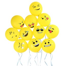 smiley balloons 2019 - 12 inch Emoji Balloons 2.8g Thick Smiley Face Expression Yellow Latex Balloons Party Balloon Cartoon Inflatable Balls We