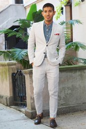 Ivory Linen Suit Canada - Summer Custom Made Men Suits Ivory Linen Men Suits for Wedding Groom Wear Wedding Tuxedos Groomsmen Casual Prom Party 2 Piece Jacket+Pants