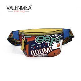 Wholesale Pillow Packs Australia - Hip-Hop Waist Bag Fashion Pillow For Women Bag Waist Fanny Packs Belt Casual Crossbody Pu Leather Graffiti Handbag New