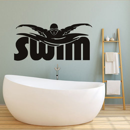 Glasses Swimming Kid Australia - Swim Quote Sport Wall Sticker For Kids Room Sport Center Playground Gym Wall Decals Home Decor Vinyl Stickers Poster