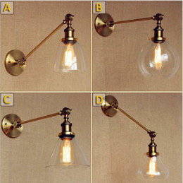vintage ball lamp 2019 - Adjustable Swing Long Arm Vintage Wall Lamp Glass Ball Edison Style Loft Industrial Wall Light Fixtures Sconce Applique