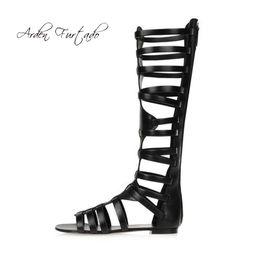 2018 summer fashion flat peep toe casual black gladiator sandals knee high  cover heels zipper women s shoes ladies big size 45 460e49bbf081