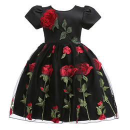 Short Frock Girls NZ - baby girl dresses halloween costumes Embroidery Rose Flower Girls princess dress Formal Party Dress Elegant Short Sleeve Black Frock Dress