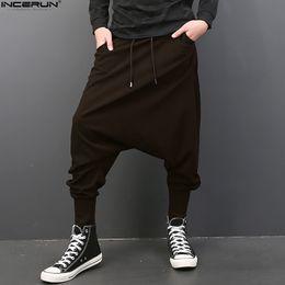 men flat crotch 2019 - INCERUN Big Drop Crotch Men Hiphop Pants Baggy Harem Men Trousers Elastic Waist Joggers Sweatpants Dancing Pants 5XL Plu
