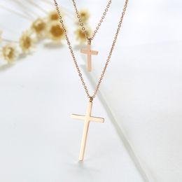 $enCountryForm.capitalKeyWord UK - 36.5CM stainless steel cross fake two necklaces ladies Korean rose gold jewelry fashion