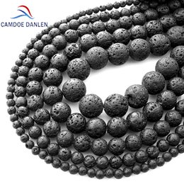 $enCountryForm.capitalKeyWord Australia - Natural Stone Black Lava Volcanic Stone Loose Beads 4 6 8 10 12 14 16 18MM Fit Diy Charm Beads For Jewelry Making Accessories