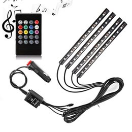 remote controlled led strip lights NZ - 4 In 1 Car LED Strip Light 48 LED Sound Active and Wireless Remote Control RGB Colors Changing Music Car Interior Lights DC 12V Waterproof