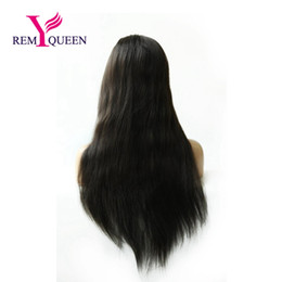 $enCountryForm.capitalKeyWord NZ - Remy Queen 1B# Off Natural Black Natural Straight Lace Front Wig 130% Medium Density Natural Hairline With Baby Hair Bleached Knots