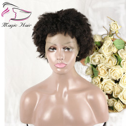 Afro Kinky Hair Shipping Australia - Evermagic hair afro kinky curly wig remy wigs for women black natural afro hair human hair wigs free shipping
