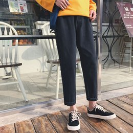 japanese boys fashion 2019 - 2018 Youth Spring And Autumn New Japanese Fashion Trend Campus Wind Wild Leisure Loose Boys Solid Color Denim Harem Pant