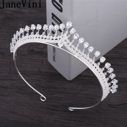 pageant queen 2019 - JaneVini 2018 Luxury Rhinestone Wedding Bridal Crystal Tiara Crowns Silver Queen Pageant Prom Tiaras Headband Headpiece