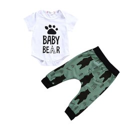 Wholesale 2Pcs Newborn Baby Girls Boys Clothes Sets Bear Letter Printed Tops Romper Long Pants Clothing New Summer Outfits Suits
