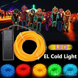 Discount car strobe light controller - 5m Flexible Neon Light EL Wire Christmas Lighting Neon Rope Strobe Glow Strip Light Flashing for Car Bicycle Party + Bat