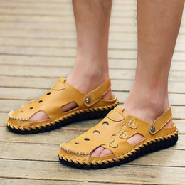 $enCountryForm.capitalKeyWord Canada - Nice Men Sandals Slippers Genuine Leather Outdoor Casual Men Summer Shoes Gladiator Sandals For Man Top Quality Brown Black