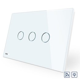 $enCountryForm.capitalKeyWord UK - High Quality AU US standard, Wireless Switch VL-C903DR-11,White Glass Panel Touch Screen, Dimmer and Remote Home Wall Light Switch