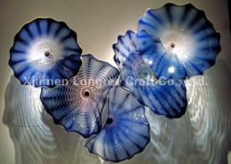 Venta al por mayor de Longree 100% Hand Blown Wall decor Glass murano Glass Art Colorful Round Plates Envío Gratis