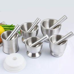 Knoblauchschleifer Praktische Edelstahl Mörser und Pistille Küche Knoblauch Kraut Mühlen Schleifschale Küche Kochen Werkzeug WX9-357 im Angebot