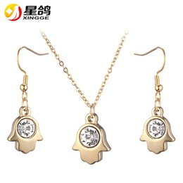 14k gold fatima 2019 - hamsa Hand of Fatima Charm silver gold color stainless steel Necklace Dangle Earrings Jewelry Set For Women Accessories