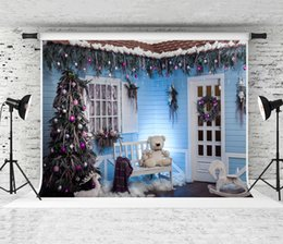 $enCountryForm.capitalKeyWord NZ - Dream 7x5ft Christmas Backdrop Blue Wood Wall Photography Backround for Holiday Party Shoot Christmas Decoration White Door Backdrops Studio