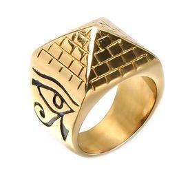 $enCountryForm.capitalKeyWord NZ - Lujoyce Rock Gold Color Horus Eyes Anubis Pattern Triangle Pyramid Ring Stainless Steel Men Signet Rings Jewelry